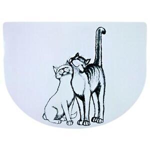 Trixie Pussy Cat Feeding Bowl Place Mat - Non-Slip, Plastic, 40 × 30 cm - White