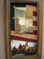Plaque of George Washington's Bicentennial on a 13 Colony flag FREE SHIPPING