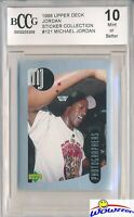 1998 Upper Deck #121 Michael Jordan Sticker BECKETT 10 MINT Bulls HOF