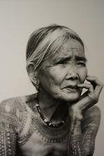 Cabinet de curiosité planche affiche A3 portrait vintage vielle femme tatoué