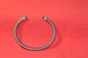 DavidYurman 5mm Sterling Silver Diamond Green Onyx Cabacon Cuff Bracelet