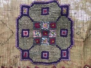 """Antique Primitive Rag Rug Unfinished Farmhouse Purple & Pink 46""""x26"""""""