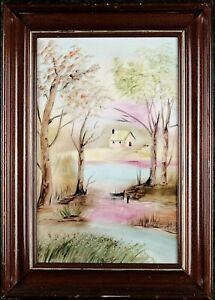 Vintage Framed Porcelain Landscape, Elegant Spring Scenery, Signed Margarida