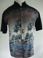 Men's Hawaiian Shirt XL S/S Island Tropical Palm Beach Huts Ocean Black Blue EUC