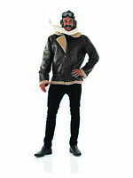 Mens WW2 Fighter Pilot Costume Adult Wartime Army Fancy Dress M L XL Biggles 40s