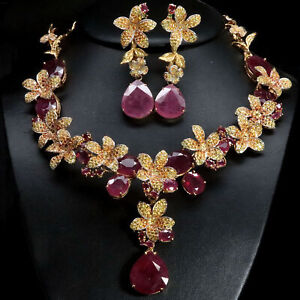 NATURAL RED RUBY, YELLOW WITH ORANGE SAPPHIRE NECKLACE & EARRINGS 925 SILVER