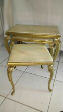 A Vintage Nest of Three Onyx and Gilt Coffee Tables. Hollywood Regency.