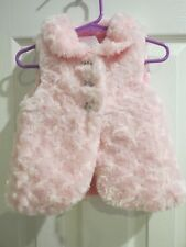 Nannette Girl's 2T Pink Fuzzy Vest with Diamond Heart Buttons Lined Warm