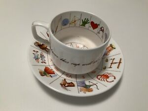 VINTAGE  CUP AND SAUCER ROYAL KENDAL STAFFORDSHIRE FORTUNE TELLING BONE CHINA