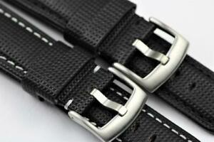 Handmade Padded Watch Strap Embossed Leather Durable Stitch 20mm-26mm