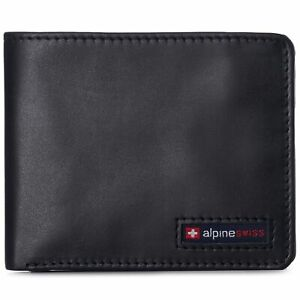 Alpine Swiss Mens Genuine Leather RFID Safe Bifold Wallet Passcase 2 ID Windows