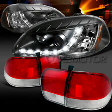 For 96-98 Civic Sedan Blk R8 LED DRL Projector Head lights+Red/Clear Tail Lamps