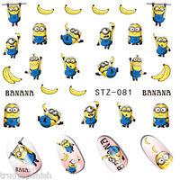 Nail Art Water Decals Stickers Transfers Minions Banana Gel Polish (81)