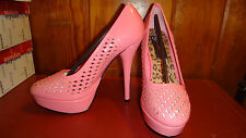 "Iron Fist High Voltage Salmon Pink Heels 5 1/2"" platform style pin up 8 JEM"