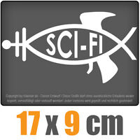 Sci-Fi Fisch 17 x 9 cm JDM Decal Sticker Aufkleber Scheibe Auto Car Weiß