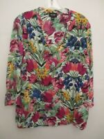 Nicole Miller Women's Size Small 3/4 Sleeve Green Floral Blouse
