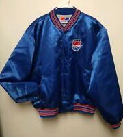 Vtg Sacramento Kings Blue Satin Bomber Coat Varsity jacket Swingster Retro XL