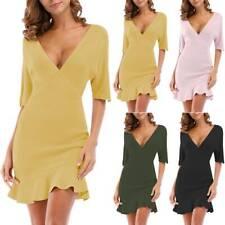 Damen V-Ausschnitt Kleid Halbarm Rüschen Bodycon Minikleid Partykleid Abendkleid