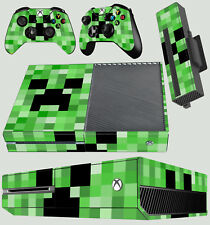 XBOX ONE CONSOLE GREEN PIXEL MONSTER BLOCK CREEPER STICKER SKIN + 2 X PAD SKINS
