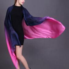 Womens Luxury Fashion Long Head Wraps Hijab Scarf Gradient Sunscreen Silk Shawl
