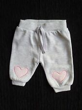 Baby clothes GIRL premature/tiny<7.5lbs/3.4kg soft grey, pink heart trousers/jog
