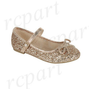 New girl's kids formal dress wedding glitter shoes bow formal holiday Rose Gold