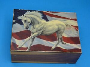 """6.5"""" cedar box topped with white horse & US flag for UPCYCLING crafting"""