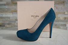 luxus Prada Gr 38 Pumps Plateau High Heels Shoes Schuhe  petrol  neu UVP495€