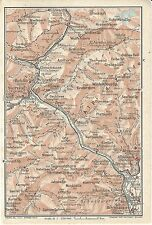 Carta geografica antica BRESSANONE BRIXEN e Passo BRENNERO 1920 Old antique map