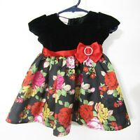 Nannette Baby Girls Dress Size 3-6 Months Black Red Floral Short Sleeve Party