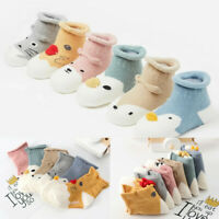Kids Infant Toddler Baby Boys Girls Cartoon Animals Anti-Slip Knitted Warm Socks