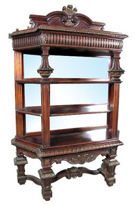 High-Quality Antique American Mirrored Victorian Rosewood Étagère c. 1890 #6411
