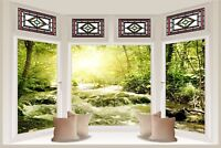Huge 3D Bay Window Green River Flowing View Wall Sticker Mural Wallpaper S39