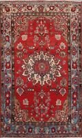 Semi-Antique Floral Najafabad Area Rug Wool Hand-Knotted Oriental Carpet 5x7 ft