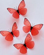 Orange Butterfly Decals Stickers Decorations 8 3D Butterflies Hand Made Home