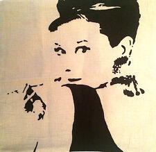 Retro Kissenbezug Audrey Hepburn * Leinenstoff * Kissenhülle *NEU* #Dekokissen