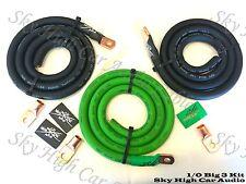 Sky High Oversized 1/0 Gauge AWG Big 3 Upgrade GREEN/BLACK Electrical Wiring Kit