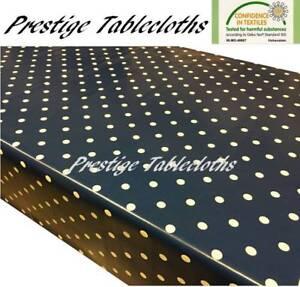 Navy Blue Polka Dot Spots PVC Vinyl Wipe Clean Tablecloth Oilcloth ALL SIZES