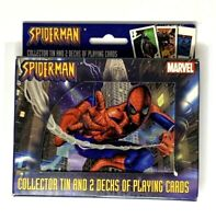 Spider-man Collector Tin Bicycle Playing Cards 2 Decks Marvel Poker Gin NIB