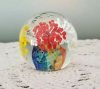 Vintage Hand Blown Small Round Glass Paperweight with Flowers