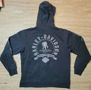 HARLEY DAVIDSON Wounded Warrior Hoodie Full Zip Men's Size Large Black