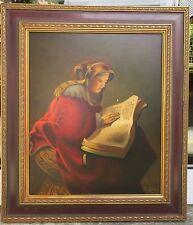 Lajovic Walter Gemälde Portrait Frau - Rembrandt Mutter mit Buch um 1631 (Kopie)