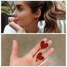 Fashion Girl Sweet Women Boho Red Heart Love Ear Stud Earrings Jewelry Party Hot
