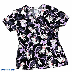 Woman's DISNEY Marie Aristocats Scrub Top Black Short Sleeve Size Extra Small XS