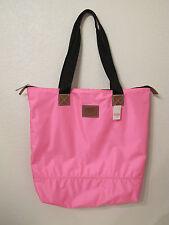 (1) NIP Victoria's Secret PINK Neon Pink Nylon Zip Top Tote *FREE SHIP*