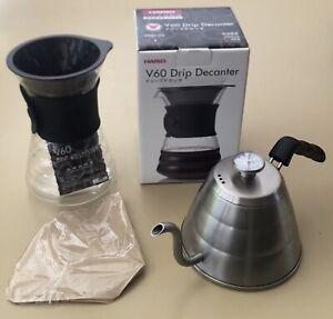 Hario DD-02 Decanter w/ V60 Dripper & CoffeeGator 1.0L Gooseneck Kettle