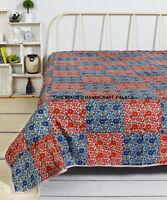 Cotton Flannel Filled Blanket Warm Lightweight Patchwork Throw Bed Queen Blanket