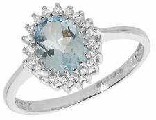 Aquamarine and Diamond Ring White Gold Cluster Large size R - Z Appraisal
