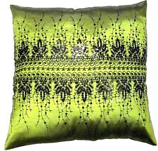 RICH OLIVE GREEN SILK MARRAKESH SPARKLY BLACK SEQUINS CUSHION COVER £4.49 EACH