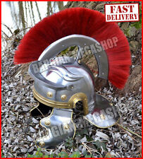 Medieval Roman Centurion Helmet w/ Plume & Fitted Leather Liner, Chin Strap
